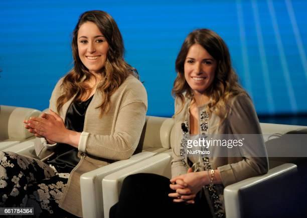 Sofia Goggia Italian alpine skier and Marta Bassino Italian alpine skier during the tv show Che Tempo Che Fa in Milan Italy on March 26 2017