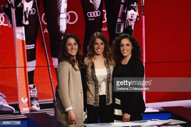 Sofia Goggia Marta Bassino and Federica Brignone attend 'Che Tempo Che Fa' tv show on March 26 2017 in Milan Italy