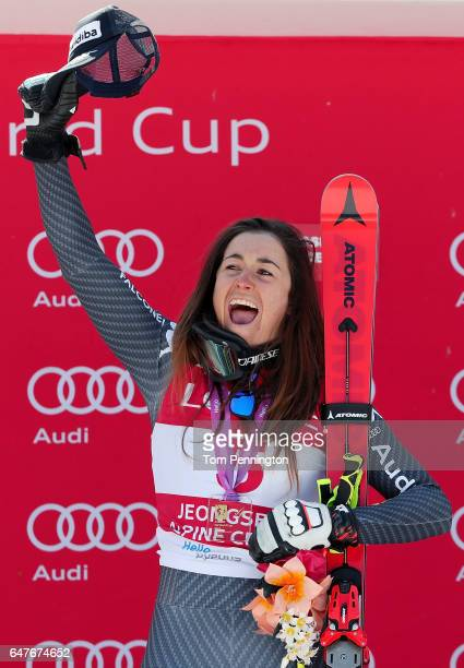 Sofia Goggia of Italy celebrates after winning the Audi FIS Ski World Cup 2017 Ladies' Downhill at the Jeongseon Alpine Centre on March 4 2017 in...