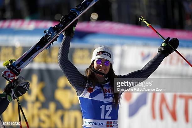 Sofia Goggia of Italy celebrates during the Audi FIS Alpine Ski World Cup Women's Giant Slalom on December 10 2016 in Sestriere Italy