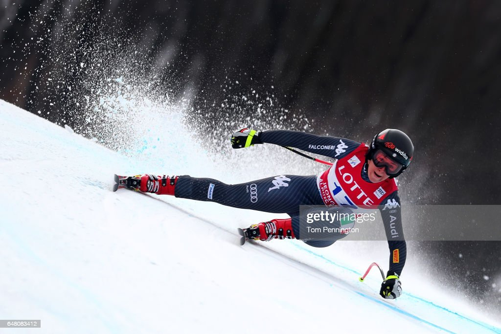 Sofia Goggia of Italy competes during the Audi FIS Ski World Cup 2017 Ladies' Super G at the Jeongseon Alpine Centre on March 5, 2017 in Jeongseon-gun, South Korea.