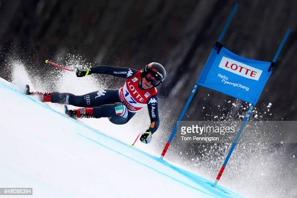Sofia Goggia of Italy competes during the Audi FIS Ski World Cup 2017 Ladies' Super G at the Jeongseon Alpine Centre on March 5 2017 in Jeongseongun...