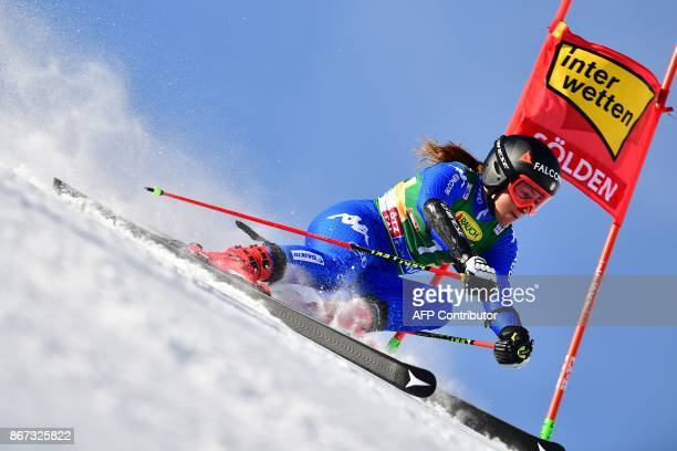 Sofia Goggia of Italy competes during the women's Giant Slalom event of the FIS ski World cup in Soelden Austria on October 28 2017 / AFP PHOTO / JOE...
