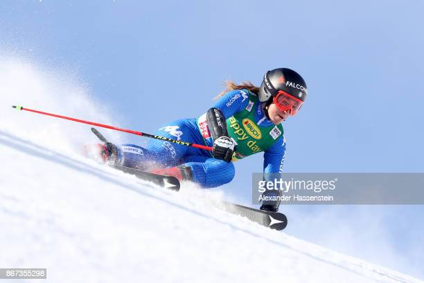 Sofia Goggia of Italy competes in the first run of the AUDI FIS Ski World Cup Ladies Giant Slalom on October 28 2017 in Soelden Austria