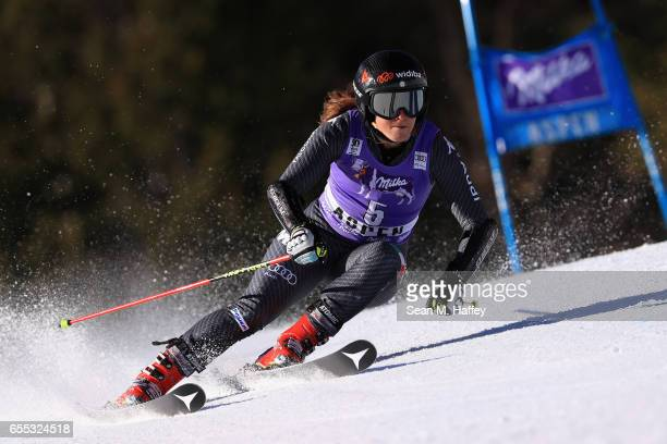 Sofia Goggia of Italy competes in the ladies' Giant Slalom during the 2017 Audi FIS Ski World Cup Finals at Aspen Mountain on March 19 2017 in Aspen...