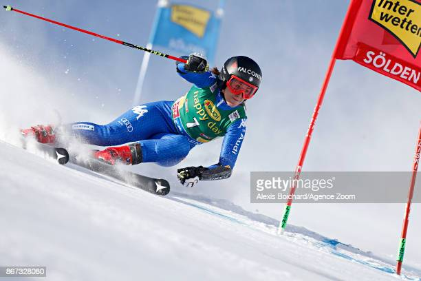 Sofia Goggia of Italy in action during the Audi FIS Alpine Ski World Cup Women's Giant Slalom on October 28 2017 in Soelden Austria
