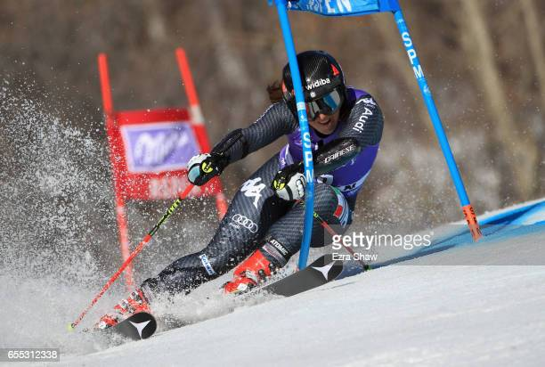 Sofia Goggia of Italy skis her first run in the ladies' giant slalom during the 2017 Audi FIS Ski World Cup Finals at Aspen Mountain on March 19 2017...