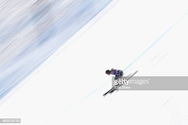 Sofia Goggia of Italy skis her second run in the ladies' giant slalom during the 2017 Audi FIS Ski World Cup Finals at Aspen Mountain on March 19...