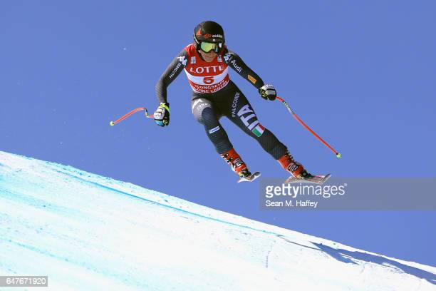 Sofia Goggia of Italy skis her way to first place during the Audi FIS Ski World Cup 2017 Ladies' Downhill at the Jeongseon Alpine Centre on March 4...
