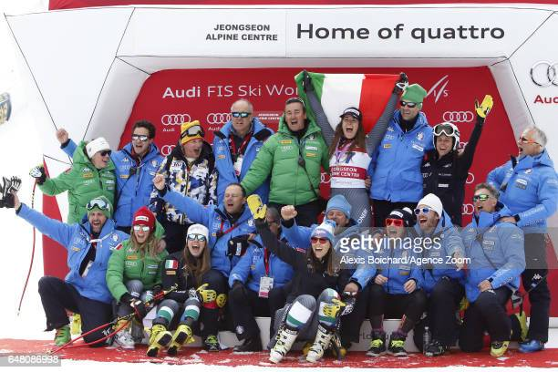 Sofia Goggia of Italy takes 1st place during the Audi FIS Alpine Ski World Cup Women's SuperG on March 05 2017 in Jeongseon South Korea