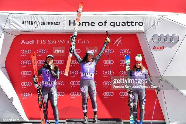 Sofia Goggia of Italy takes 2nd place Federica Brignone of Italy takes 1st place Marta Bassino of Italy takes 3rd place during the Audi FIS Alpine...