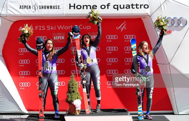 Sofia Goggia of Italy takes 2nd place Federica Brignone of Italy takes 1st place Marta Bassino of Italy takes 3rd place in the ladies' Giant Slalom...
