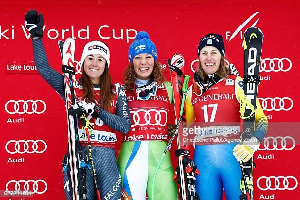 Sofia Goggia of Italy takes 2nd place Ilka Stuhec of Slovenia takes 1st place Kajsa Kling of Sweden takes 3rd place during the Audi FIS Alpine Ski...