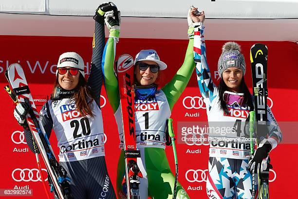 Sofia Goggia of Italy takes 2nd place Ilka Stuhec of Slovenia takes 1st place Anna Veith of Austria takes 3rd place during the Audi FIS Alpine Ski...