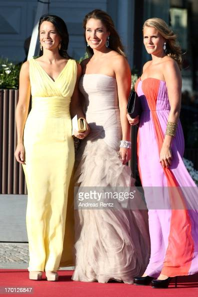 Sofia Hellqvist and Louise Gottlieb arrive at a private dinner on the eve of the wedding of Princess Madeleine and Christopher O'Neill hosted by King...