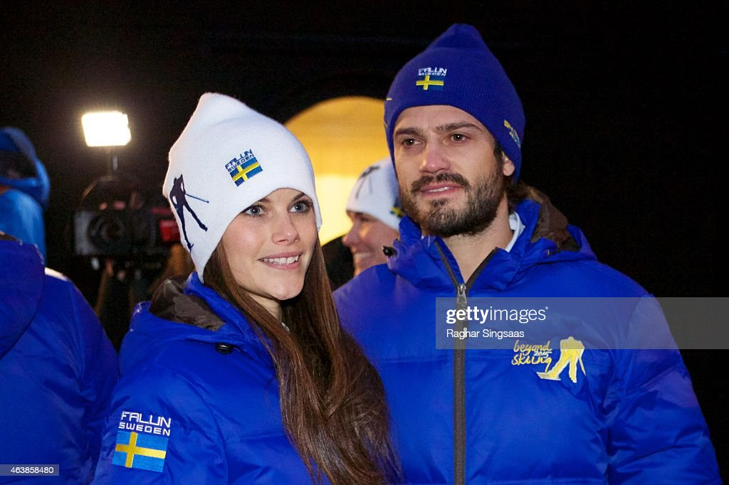 Sofia Hellqvist and Prince Carl Philip of Sweden attend the opening of the FIS Nordic World Ski Championships on February 19, 2015 in Falun, Sweden.
