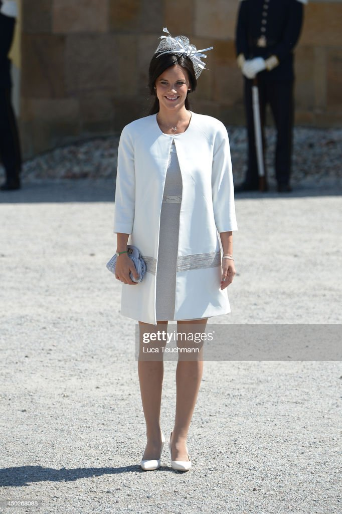 Sofia Hellqvist arrives for Princess Leonore's Royal Christening at Drottningholm Palace Chapel on June 8, 2014 in Stockholm, Sweden.