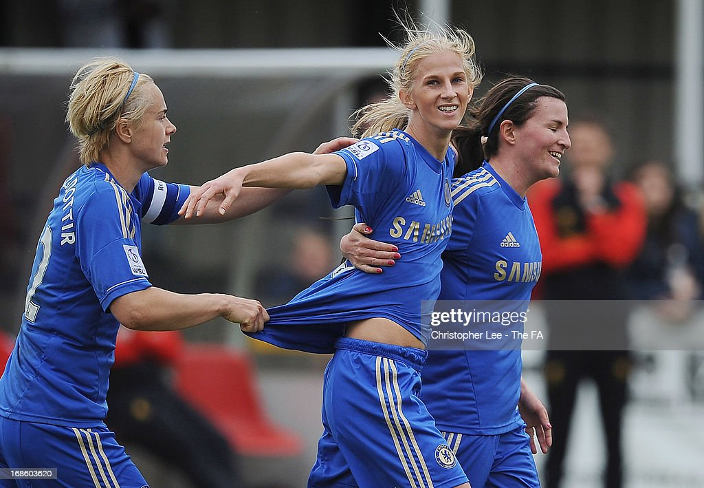 <a gi-track='captionPersonalityLinkClicked' href=/galleries/search?phrase=Sofia+Jakobsson&family=editorial&specificpeople=7097023 ng-click='$event.stopPropagation()'>Sofia Jakobsson</a> of Chelsea is congratulated after scoring their first goal during the FA WSL match batween Chelsea Ladies FC and Liverpool Ladies FC at Wheatsheaf Park on May 12, 2013 in Staines, England.
