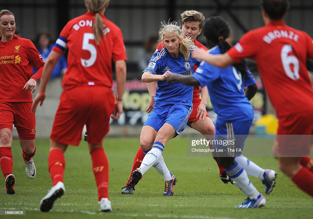 <a gi-track='captionPersonalityLinkClicked' href=/galleries/search?phrase=Sofia+Jakobsson&family=editorial&specificpeople=7097023 ng-click='$event.stopPropagation()'>Sofia Jakobsson</a> of Chelsea scores their first goal during the FA WSL match batween Chelsea Ladies FC and Liverpool Ladies FC at Wheatsheaf Park on May 12, 2013 in Staines, England.