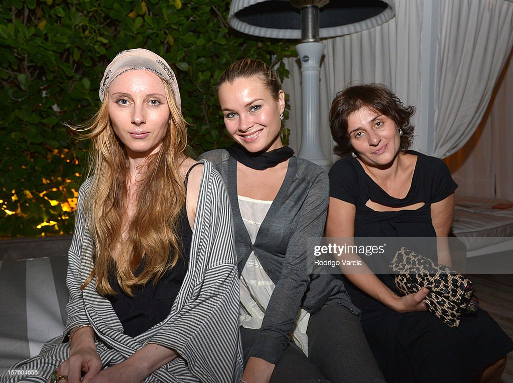Sofia Kay, Svetlana Samoylova and Anna Gurfinkel attend the Whitewall Magazine Party At Delano Beach Club at Delano Beach Club on December 4, 2012 in Miami Beach, Florida.