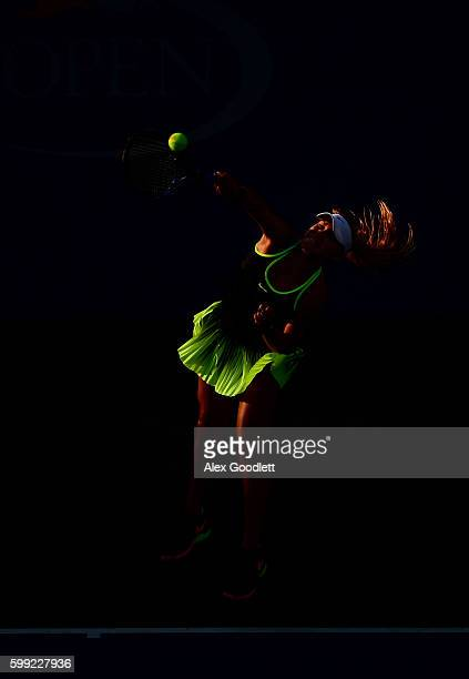 Sofia Kenin of the United States serves to Mai Hontama of Japan during her first round Junior Girl's match on Day Seven of the 2016 US Open at the...