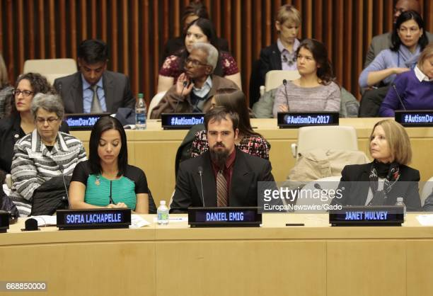 Sofia Lachapelle along at the 2017 World Autism Awareness Day at the UN Headquarters in New York March 31 2017