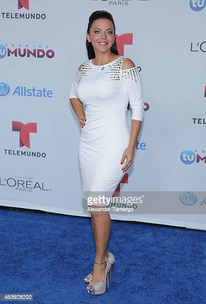 Sofia Lachapelle arrives at Telemundo's Premios Tu Mundo Awards 2014 at American Airlines Arena on August 21 2014 in Miami Florida