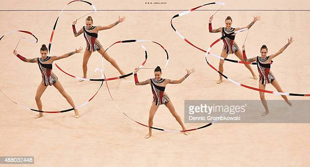 Sofia Lodi Alessia Maurelli Marta Pagnini Camilla Patriarca and Andreea Stefanescu of Italy compete in the Group Apparatus Ribbon final during Day 7...