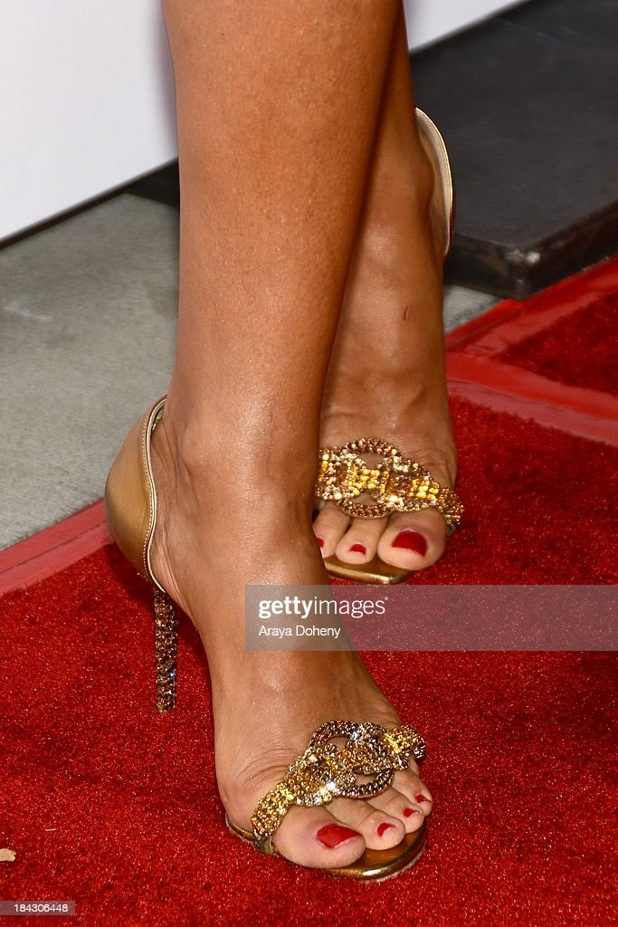 Sofia Milos (shoe detail) attends the 2013 Latinos de Hoy Awards at Los Angeles Times' Chandler Auditorium on October 12, 2013 in Los Angeles, California.
