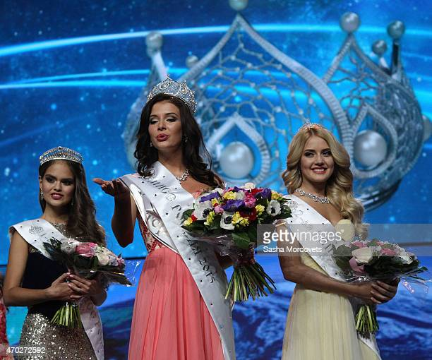 Sofia Nikitchuk of Yekaterinburg acknowledges the crowd after winning the Miss Russia 2015 beauty pageant First runnerup Vladislava Yevtushenko of...