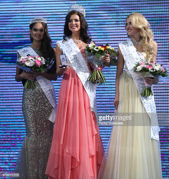 Sofia Nikitchuk of Yekaterinburg poses with the Crown after winning the Miss Russia 2015 paegent at Barvikha Luxury Village Concert Hall on April 18...