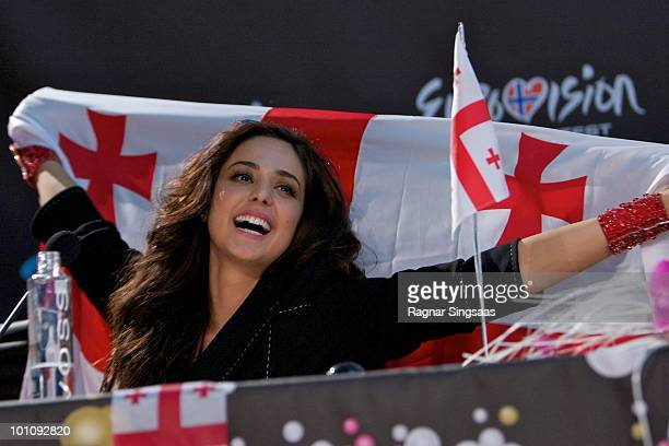 Sofia Nizharadze of Georgia attends a press conference after the second semi final at the Telenor Arena on May 27 2010 in Oslo Norway In all 39...
