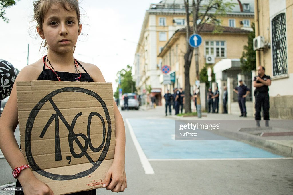 Sofia residents protesting against the decision of local authorities to hike the price of public transport by 60% over the existing from 1st of June, in Sofia, Bulgaria, on May 30, 2016.