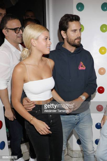 Sofia Richie and Scott Disick are seen during Art Week Party at Sugar Factory American Brasserie on December 8 2017 in Miami Florida