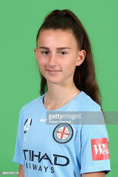 Sofia Sakalis poses during the Melbourne City WLeague headshots session on November 2 2017 in Melbourne Australia