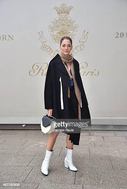 Sofia Sanchez Barrenechea attends the Schiaparelli show as part of Paris Fashion Week Haute Couture Spring/Summer 2015 on January 26 2015 in Paris...
