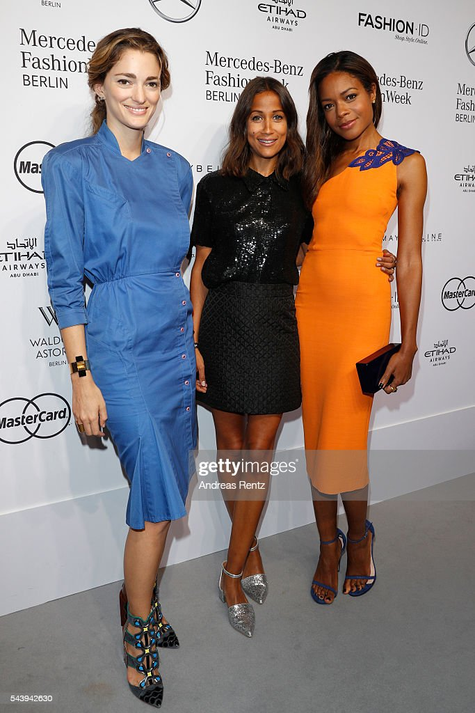 Sofia Sanchez de Betak, Rabea Schif and <a gi-track='captionPersonalityLinkClicked' href=/galleries/search?phrase=Naomie+Harris&family=editorial&specificpeople=238918 ng-click='$event.stopPropagation()'>Naomie Harris</a> attend the 'Designer for Tomorrow' show during the Mercedes-Benz Fashion Week Berlin Spring/Summer 2017 at Erika Hess Eisstadion on June 30, 2016 in Berlin, Germany.