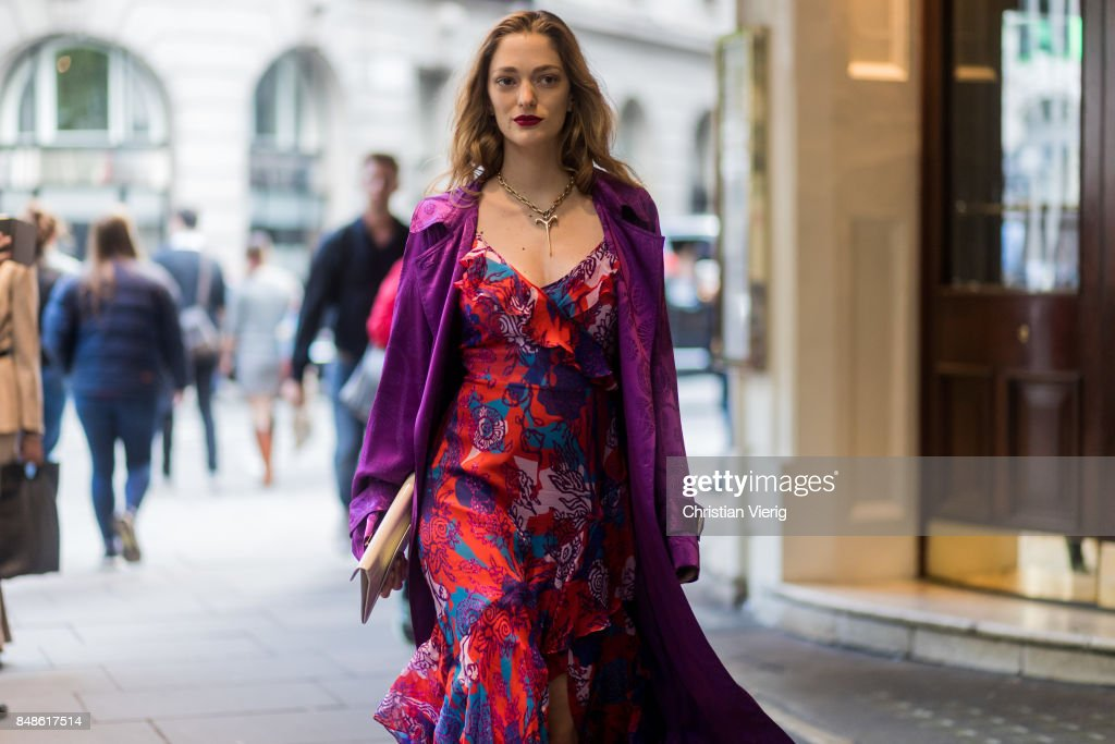 Sofia Sanchez de Betak wearing purple dress outside Peter Pilotto during London Fashion Week September 2017 on September 17, 2017 in London, England.