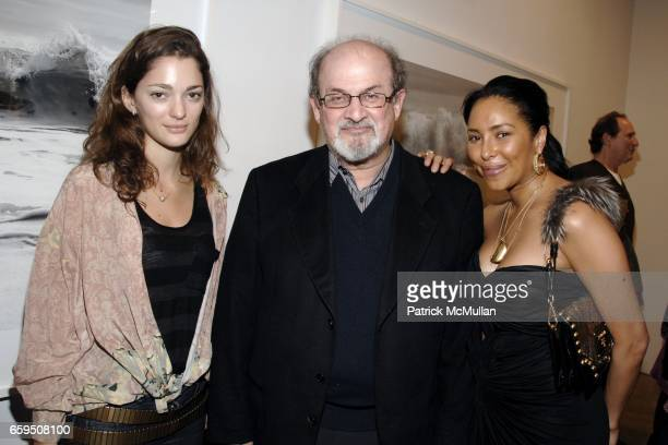 Sofia Sanchez Salman Rushdie and Jessica Robinson attend CLIFFORD ROSS Gallery Opening at Sonnabend Gallery on October 24 2009 in New York City