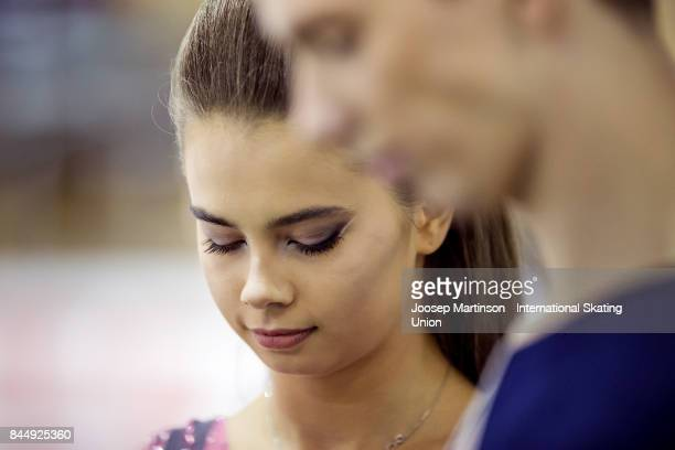 Sofia Shevchenko and Igor Eremenko of Russia prepare in the Junior Ice Dance Free Dance during day 3 of the Riga Cup ISU Junior Grand Prix of Figure...