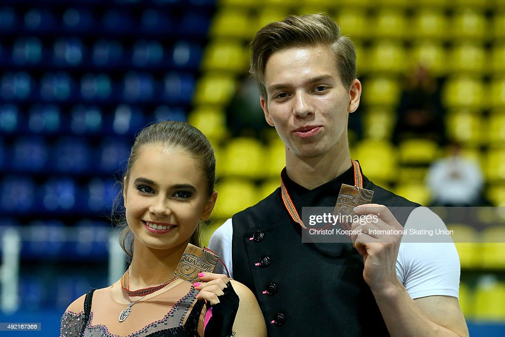 Sofia Shevchenko and Igor Eremenko of Russia present their bronze medals during the medal ceremony of the junior ice short dance of the ISU Junior...