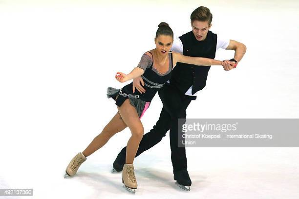 Sofia Shevchenko and Igor Eremenko of Russia skate during the junior ice short dance of the ISU Junior Grand Prix at Dom Sportova on October 10 2015...