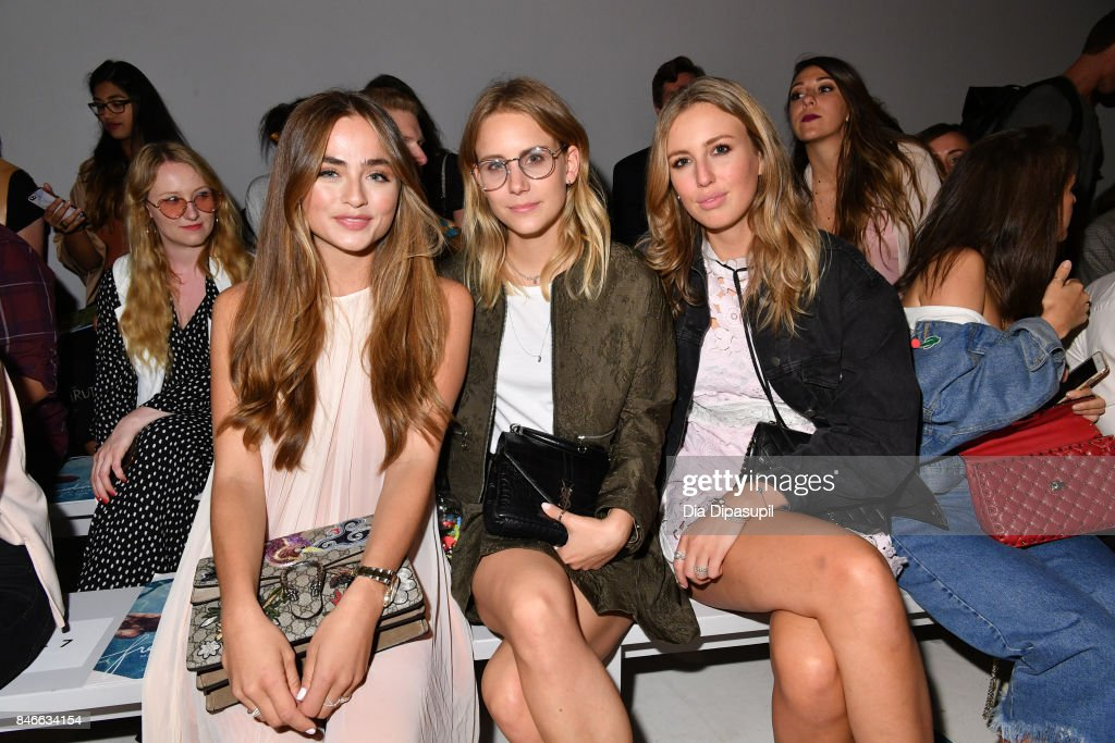 Sofia Tsakiridou (L) attends the Marcel Ostertag fashion show during New York Fashion Week: The Shows at Gallery 3, Skylight Clarkson Sq on September 13, 2017 in New York City.