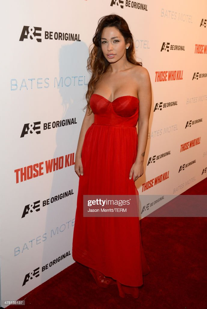 Sofia Valleri attends A&E's 'Bates Motel' and 'Those Who Kill' Premiere Party at Warwick on February 26, 2014 in Hollywood, California.