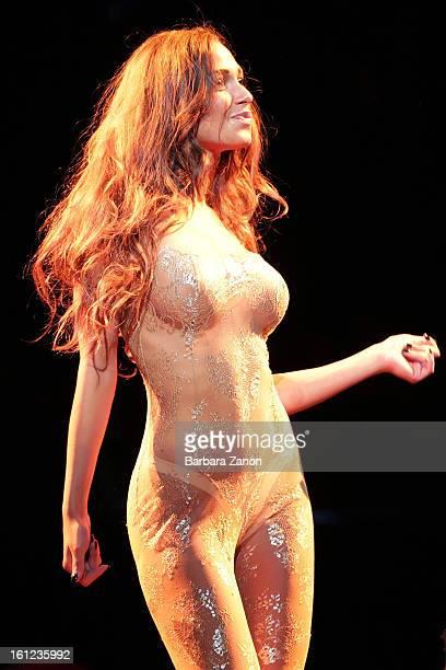 Sofia Valleri performs on stage during the exclusive Gran Ballo della Cavalchina at La Fenice Theater on February 9 2013 in Venice Italy