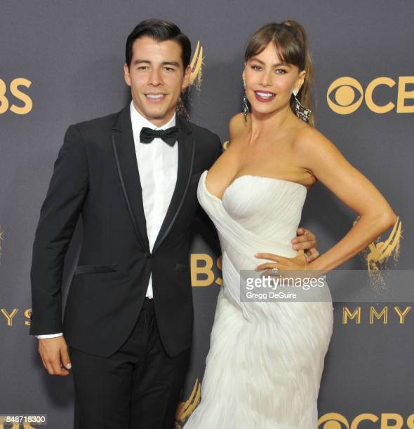 Sofia Vergara and son Manolo GonzalezRipoll Vergara arrive at the 69th Annual Primetime Emmy Awards at Microsoft Theater on September 17 2017 in Los...