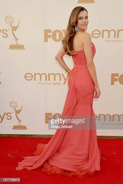Sofia Vergara arrives at the Academy of Television Arts Sciences 63rd Primetime Emmy Awards at Nokia Theatre LA Live on September 18 2011 in Los...