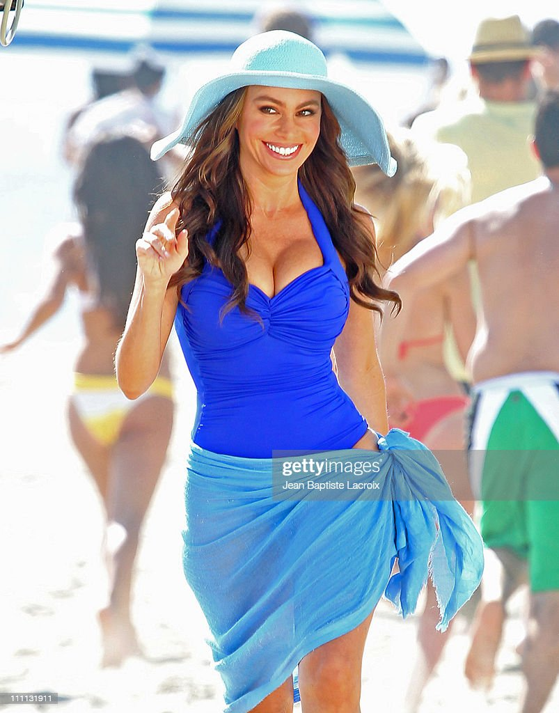 Sofia Vergara is seen filming a commercial in Santa Monica on March 29 2011 in Los Angeles California