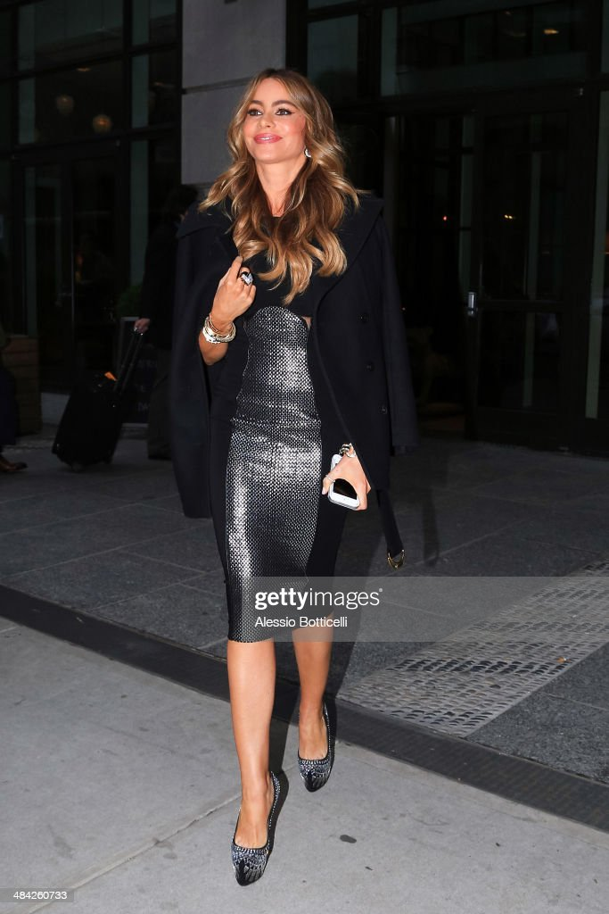 Sofia Vergara is seen leaving press junket for Fading Gigolo on April 11, 2014 in New York City.