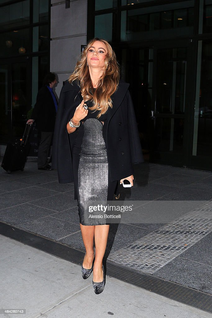 Sofia Vergara is seen leaving press junket for Fading Gigolo on April 11, 2014 in New York City.